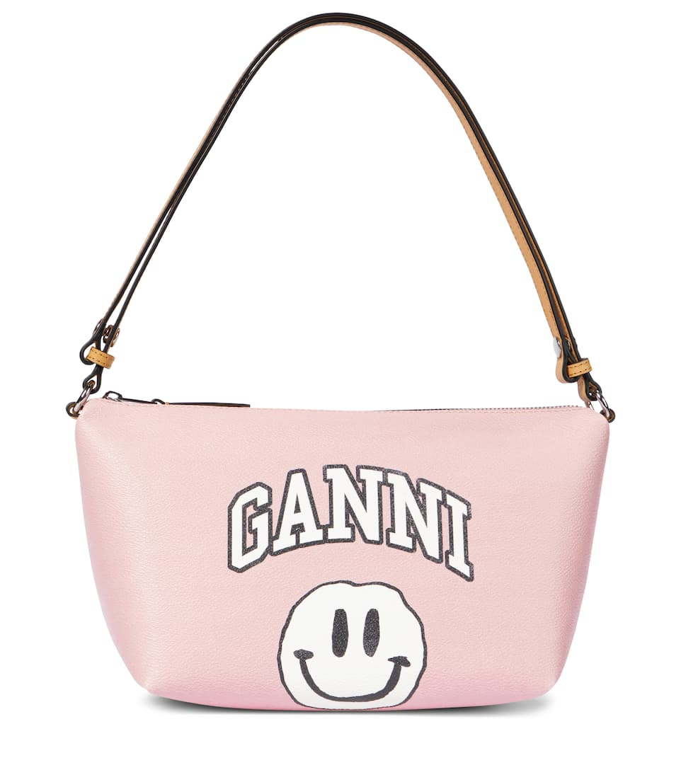 Ganni LEATHER-TRIMMED CANVAS SHOULDER BAG