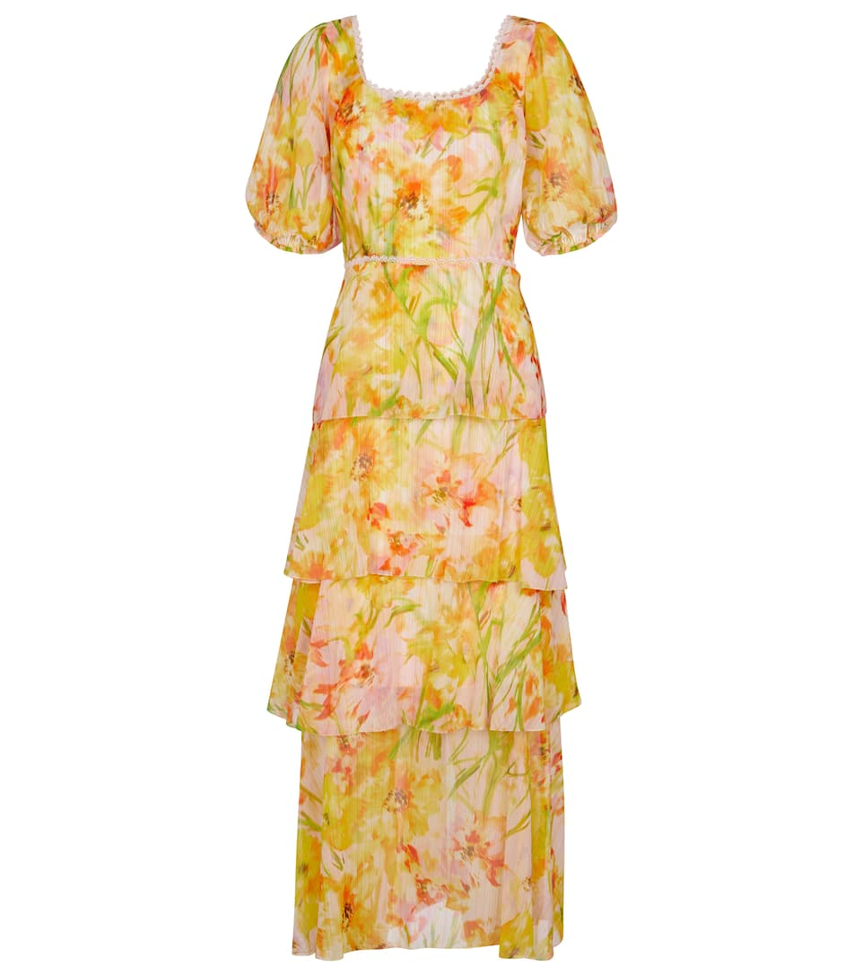 Marchesa Notte Short Puff Sleeve Chiffon Tiered Dress In Yellow
