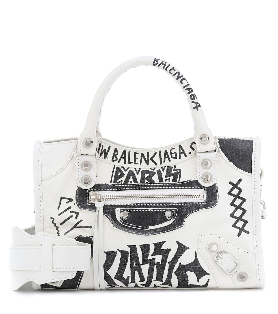 Balenciaga Borsa Mini City In Pelle Con Stampa Graffiti In White