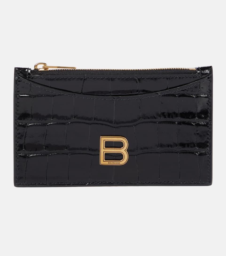Balenciaga Hourglass Croc-effect Leather Card Holder In Black