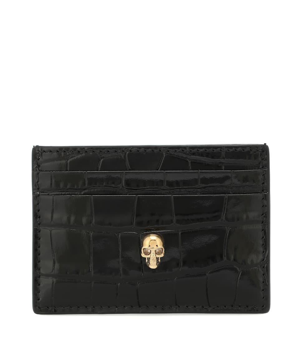 Alexander Mcqueen Croc-effect Leather Cardholder In Black