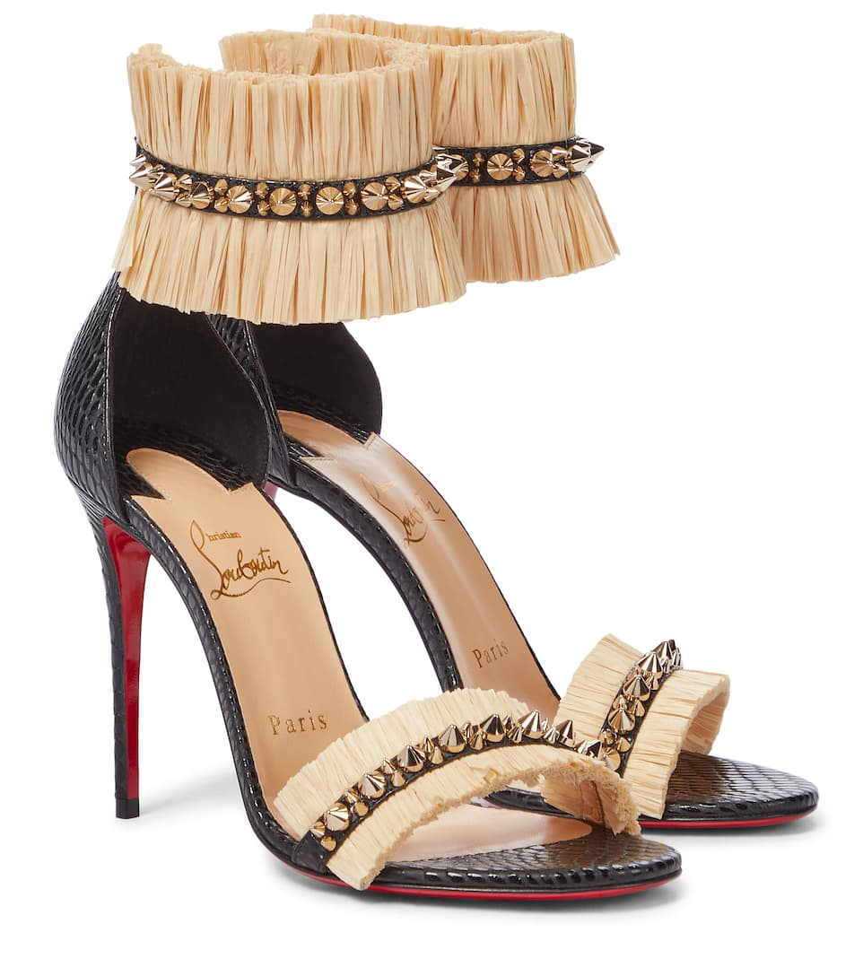 Christian Louboutin POUPEDOU RAFFIA AND LEATHER SANDALS