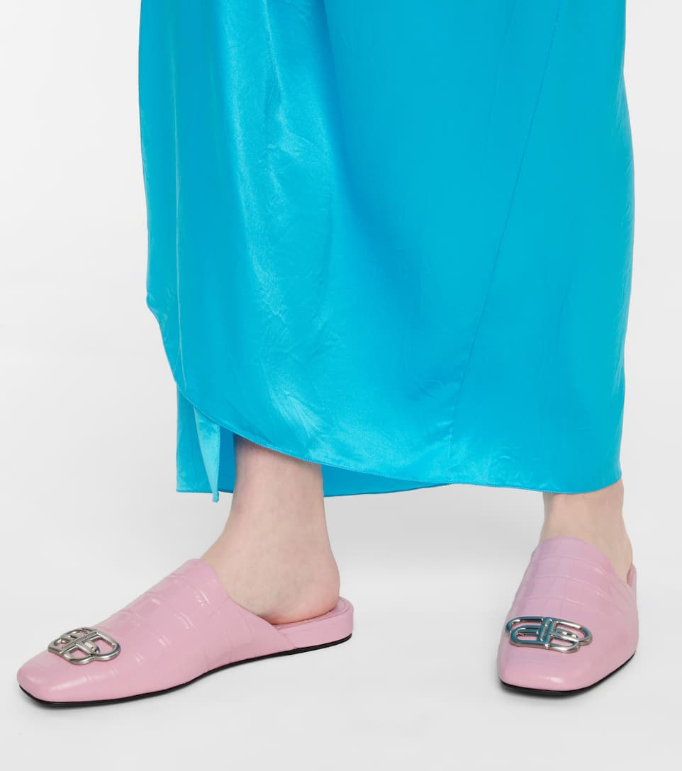 BALENCIAGA Shoes COSY BB CROC-EFFECT LEATHER SLIPPERS