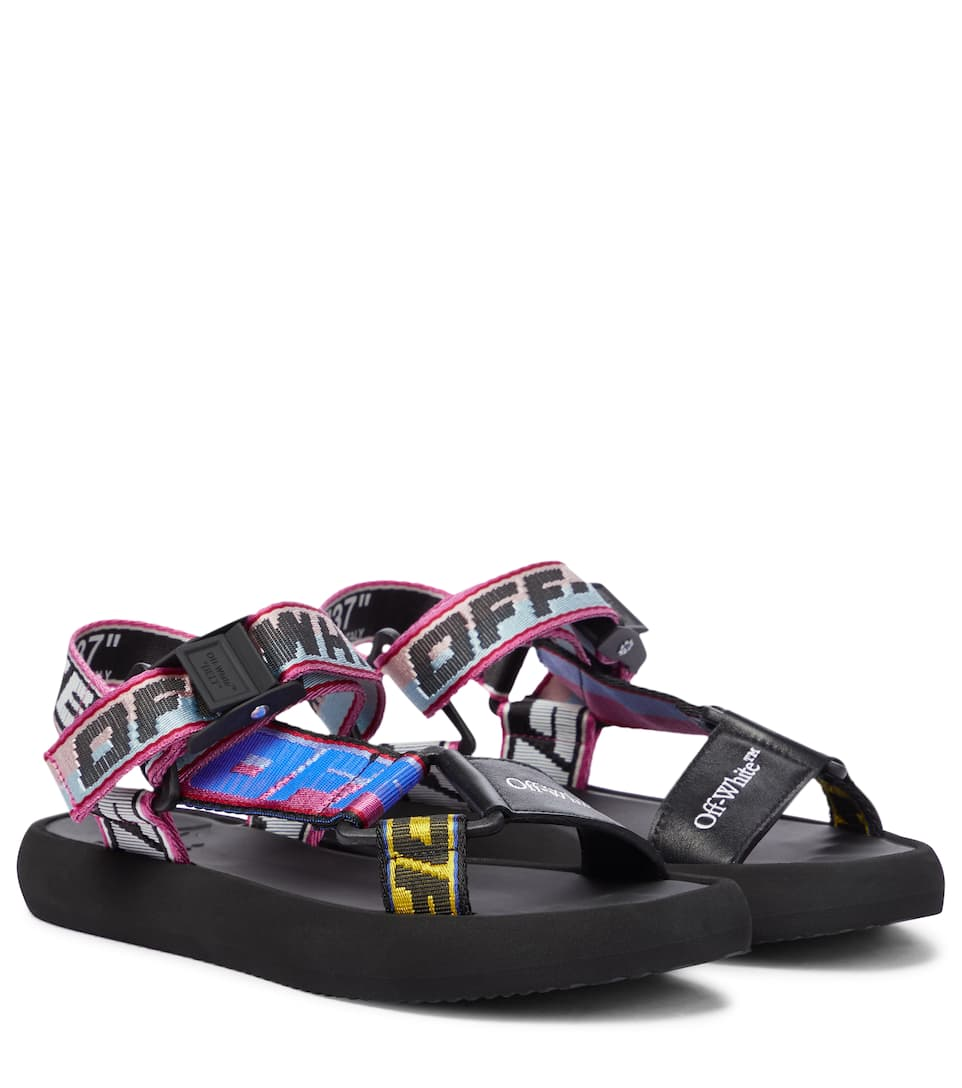 Off-White Flats TREK LEATHER-TRIMMED SANDALS