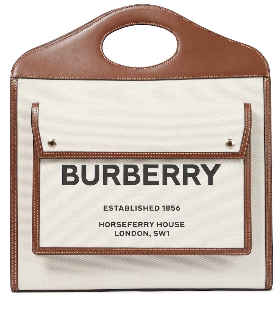 Burberry Bags Pocket Medium leather-trimmed canvas tote