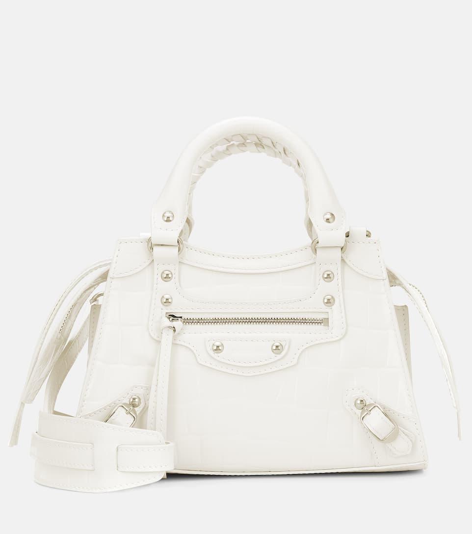 Balenciaga 'neo Classic City Mini' Croc Embossed Leather Bag In White