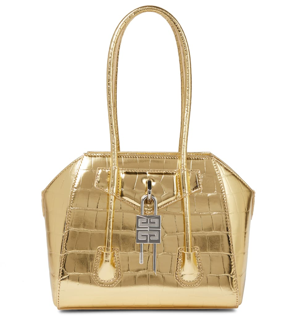 Givenchy ANTIGONA LOCK MINI CROC-EFFECT LEATHER TOTE