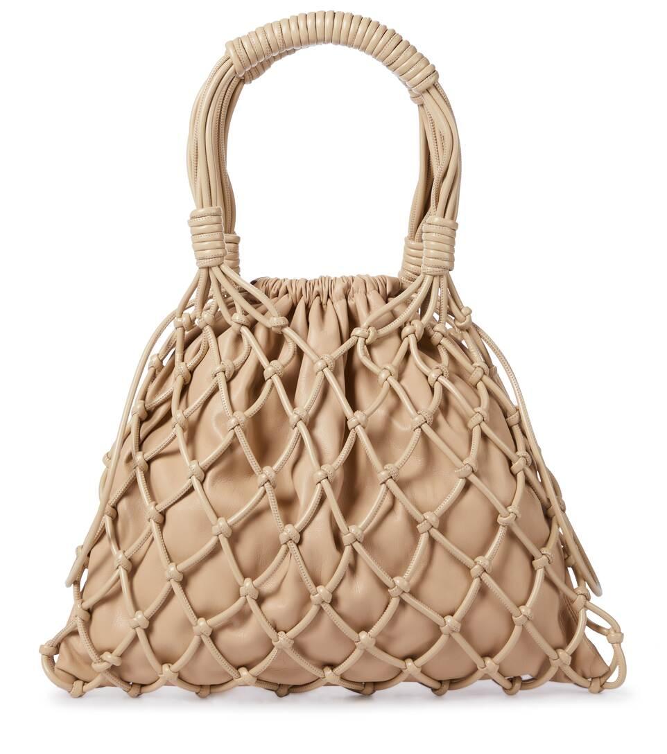 Nanushka Naiya Net Faux-leather Top-handle Bag In Beige
