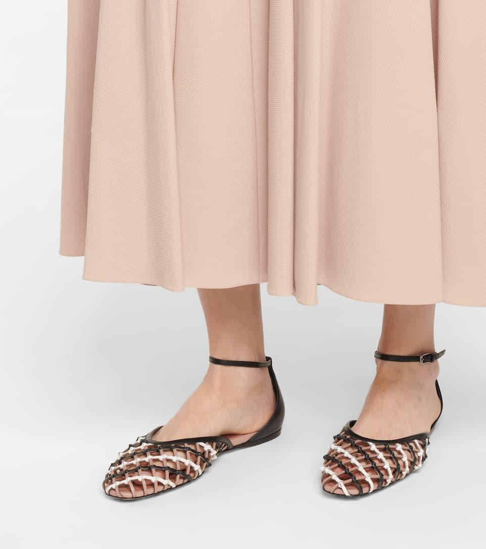 ALAÏA Shoes OPEN-WEAVE LEATHER BALLET FLATS