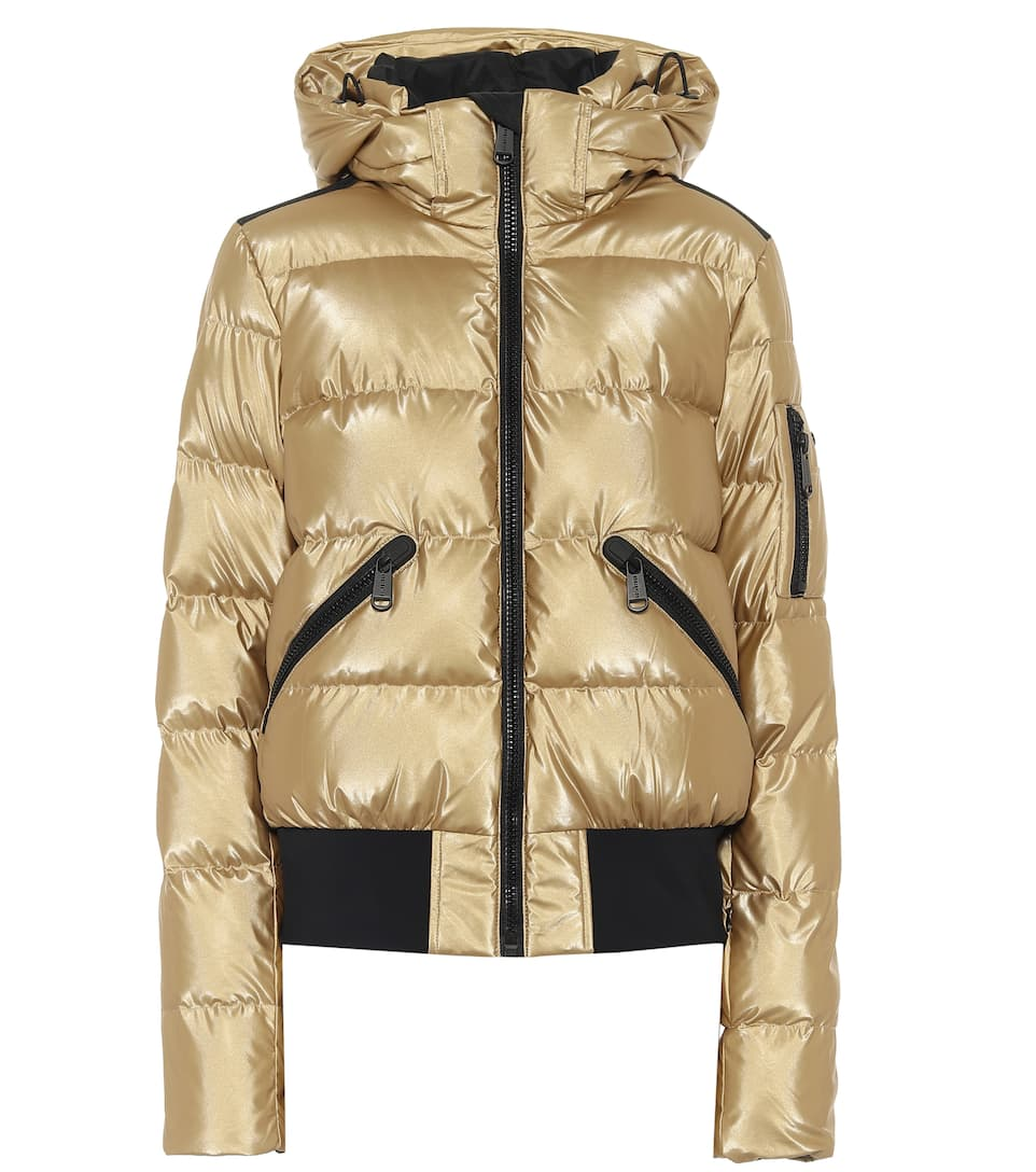 Goldbergh Aura Hooded Quilted Metallic Down Ski Jacket In Gold