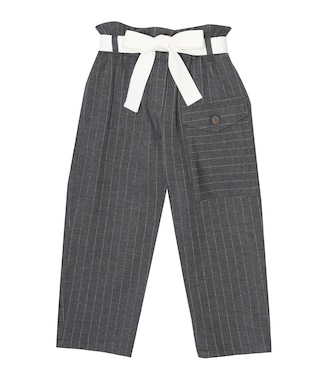Brunello Cucinelli Kids - Pinstriped wool-blend paperbag pants - mytheresa.com