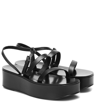 The Row - Wedge platform leather sandals - mytheresa.com