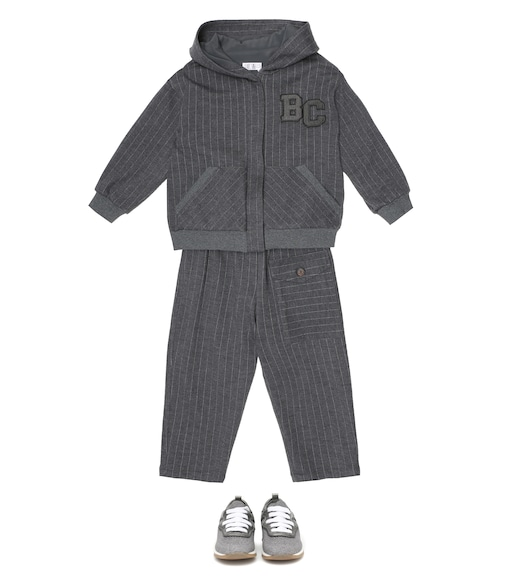 Brunello Cucinelli Kids - Pinstriped wool-blend track jacket - mytheresa.com