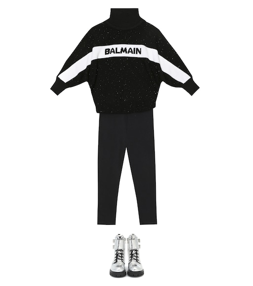 Balmain Kids - Logo sequined wool-blend sweater - mytheresa.com